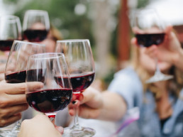 People Drinking Wine at Heather Restaurant